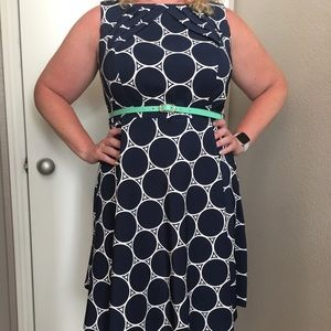 Dress Barn Navy Fit & Flare Dress with Belt 14W